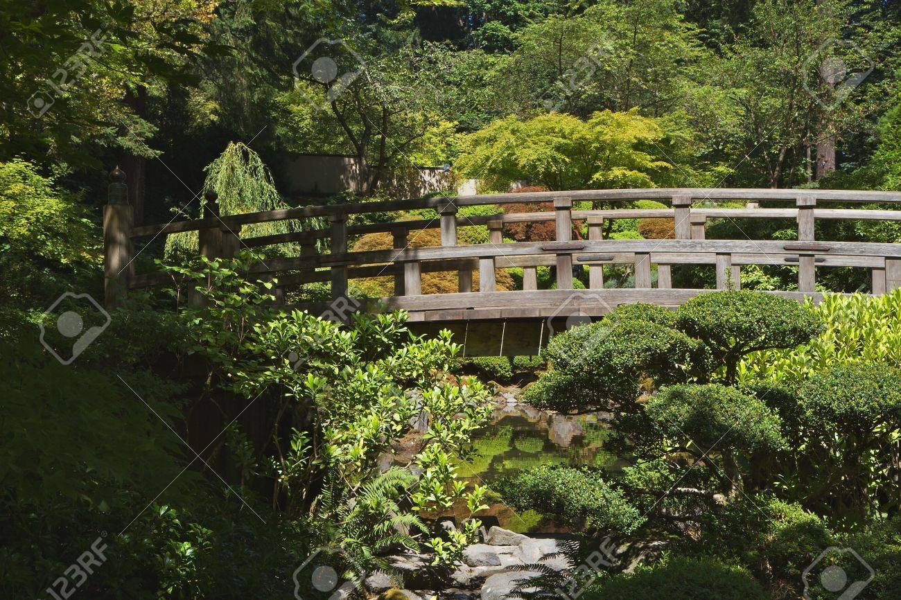 Japanese Wood Bridge in garden of green and gold trees Stock Photo - 7599426