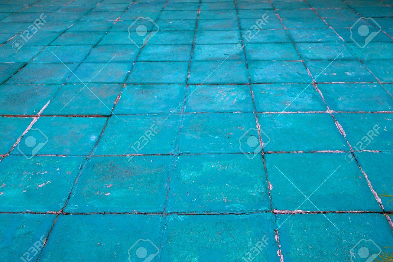 Concrete Floor Tiles Painted Aquamarine Or Turqoise In A Diminishing ...