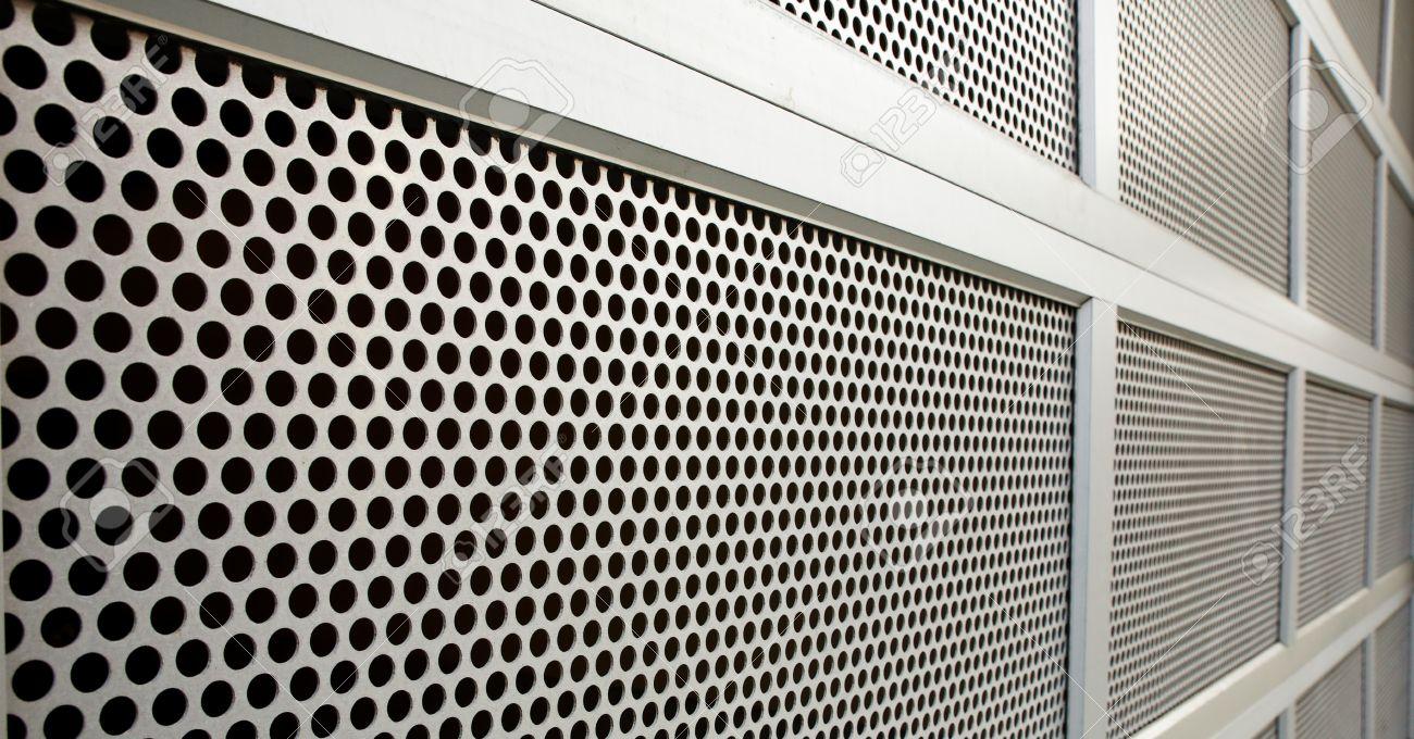 Perforated Steel Garage Security Door On Perspective Stock Photo   17593162