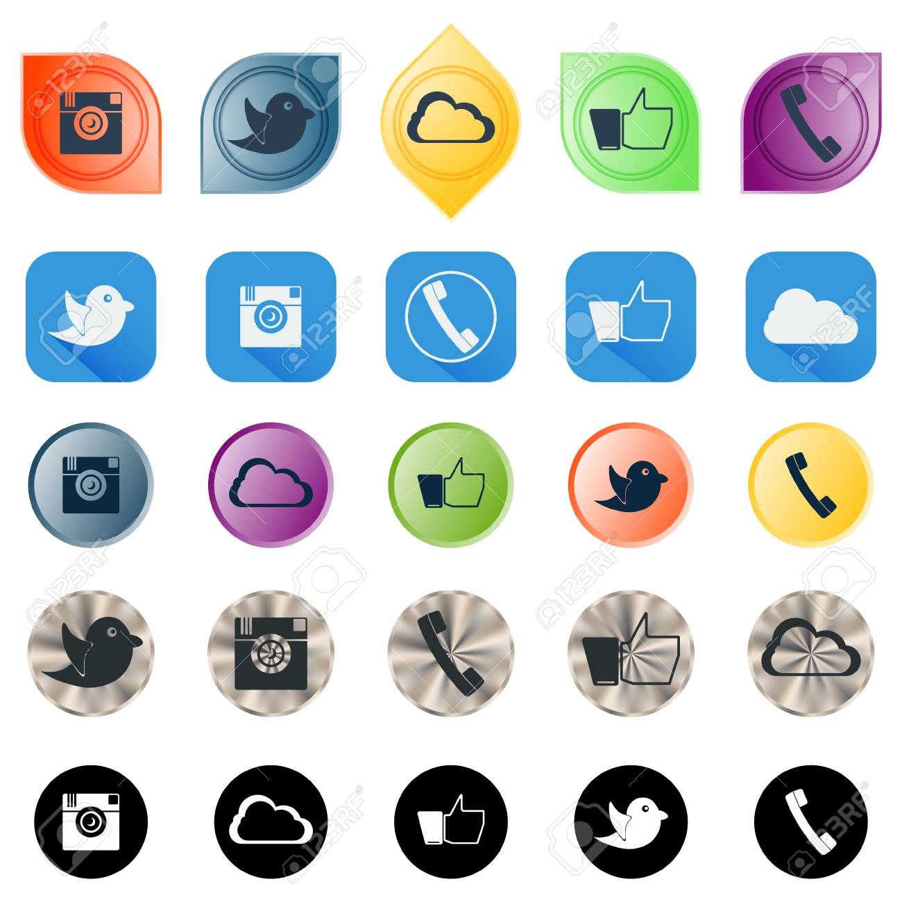 Good Set Of Social Network Icons In Different Styles. Vector Design. Stock  Vector   42021979