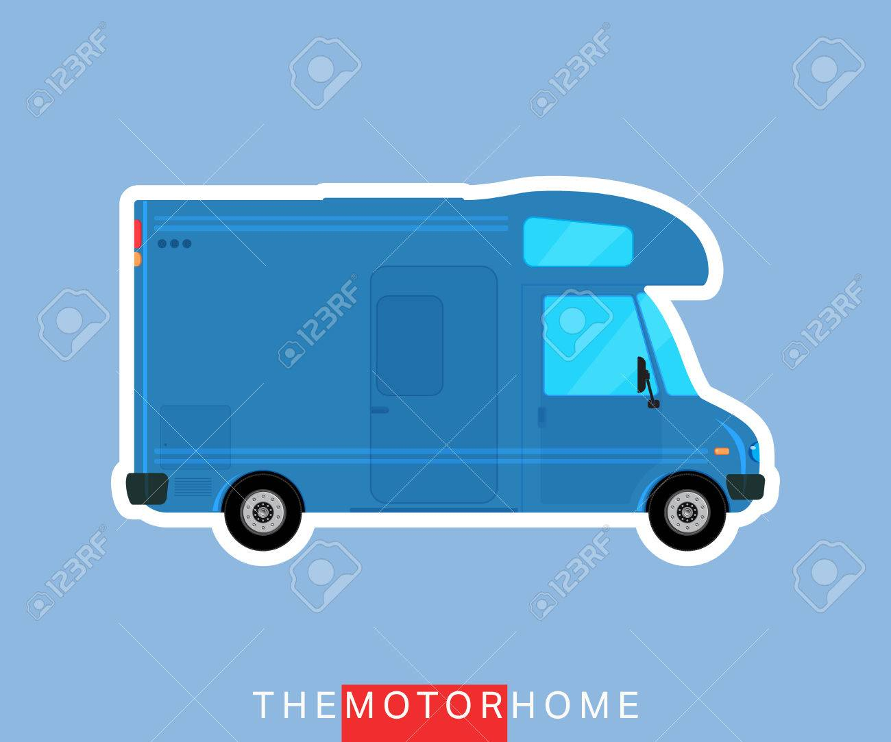 recreational motorhome vehicle camper van caravan bus vector