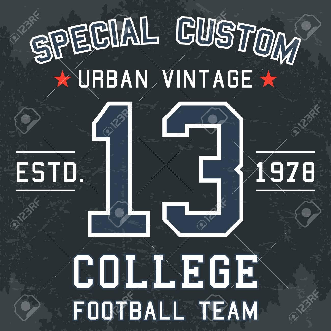T shirt poster design - T Shirt Print Design Vintage Football Team Number 13 Poster Stock Vector