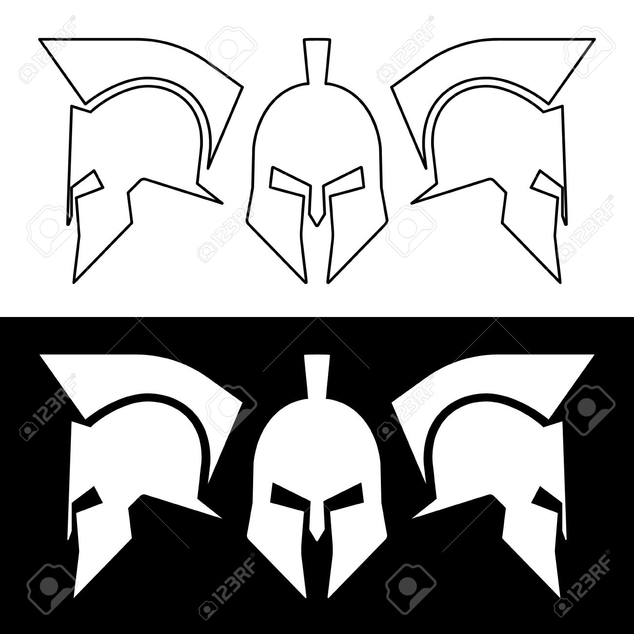 ancient roman or greek helmet helmets front and side view silhouette line design - Ancient Rome Designs