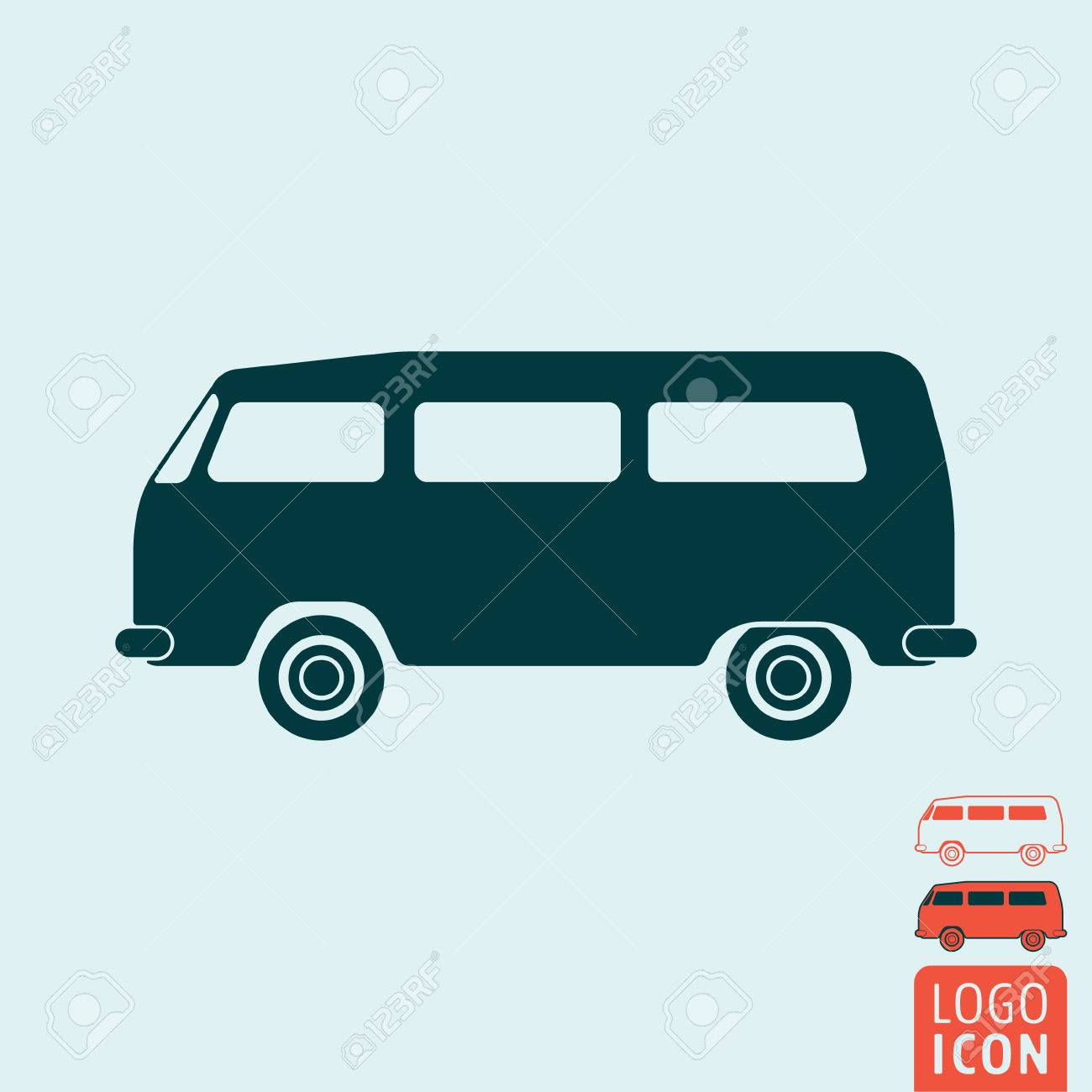 Camper Bus Icon Symbol Classic Vintage Minivan Isolated Vector Illustration