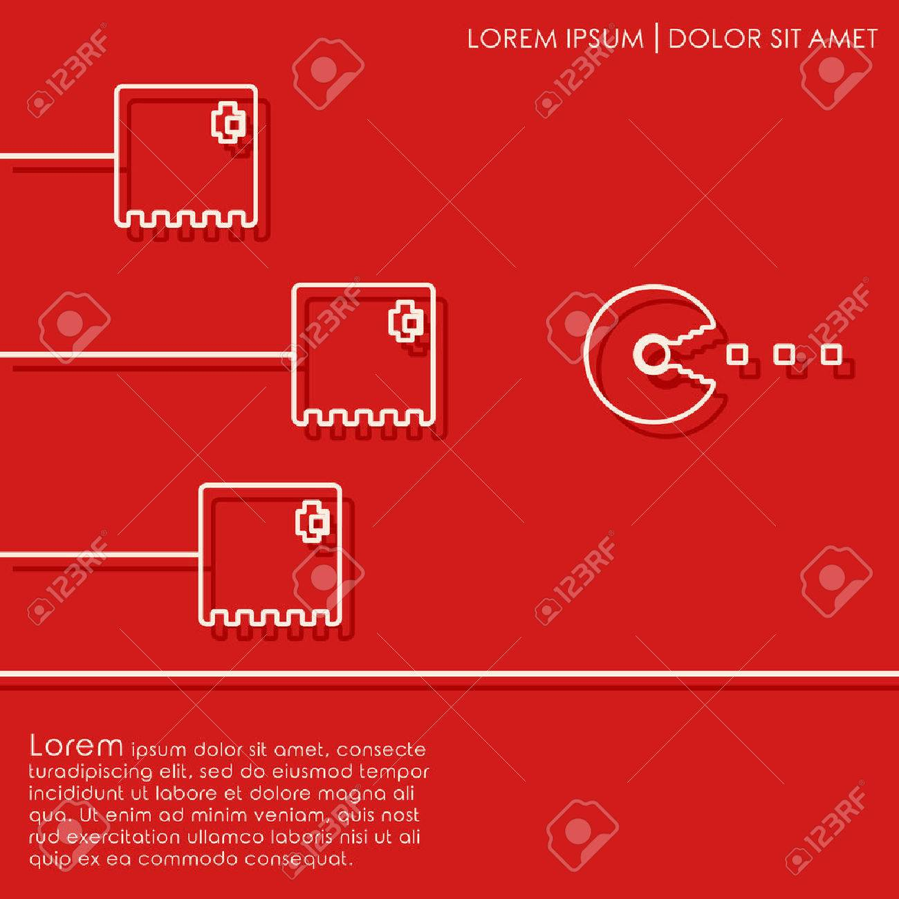 Line Monsters On Red Background Old Video Game Design Cover - Game design template