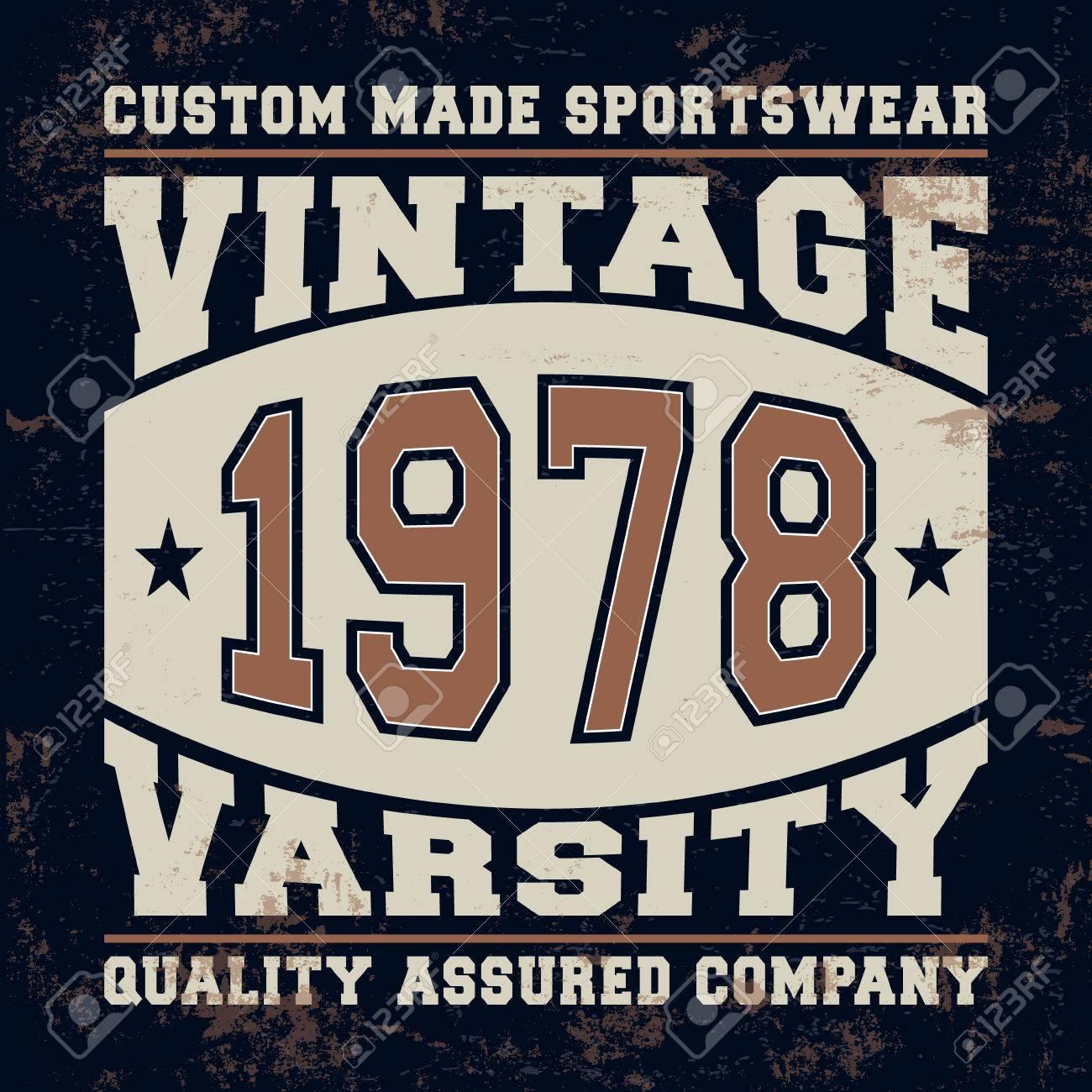 Design t shirt label - T Shirt Print Design Varsity Vintage Stamp Printing And Badge Applique Label T