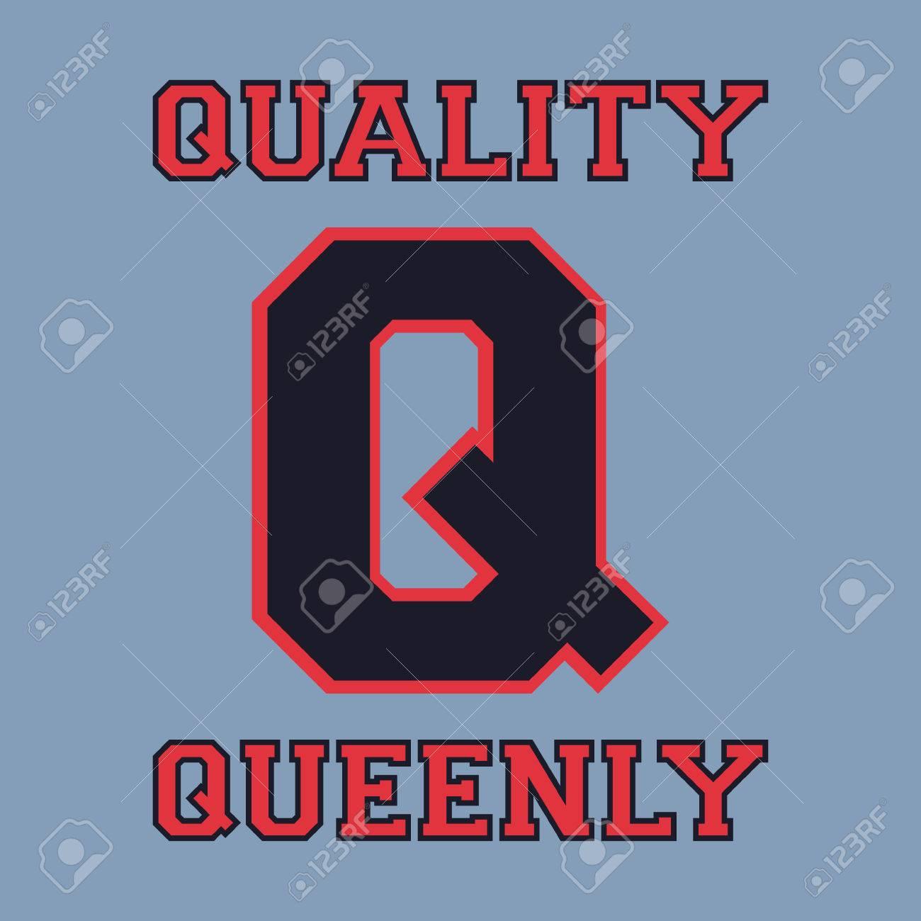 Plantilla Alfabeto Fuente. Letra Q. Diseño De La Camiseta De ...
