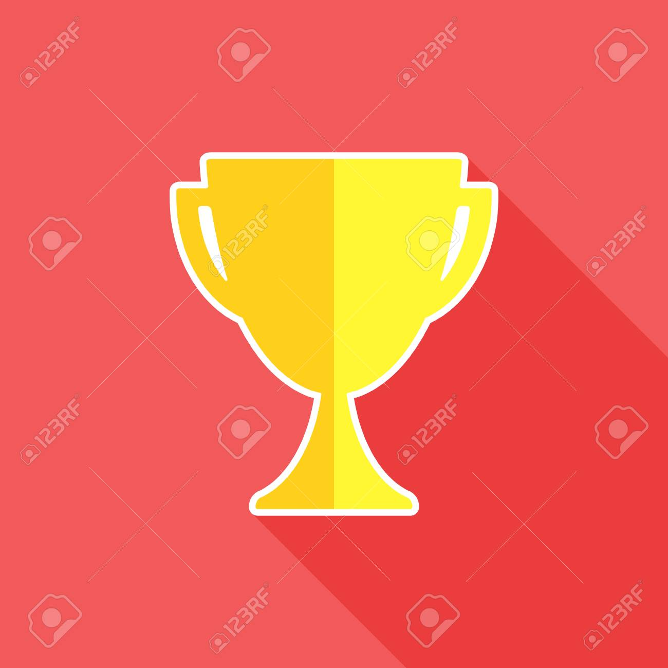 Trophy Flat Icon Trophy Cup Symbol Vector Illustration Royalty