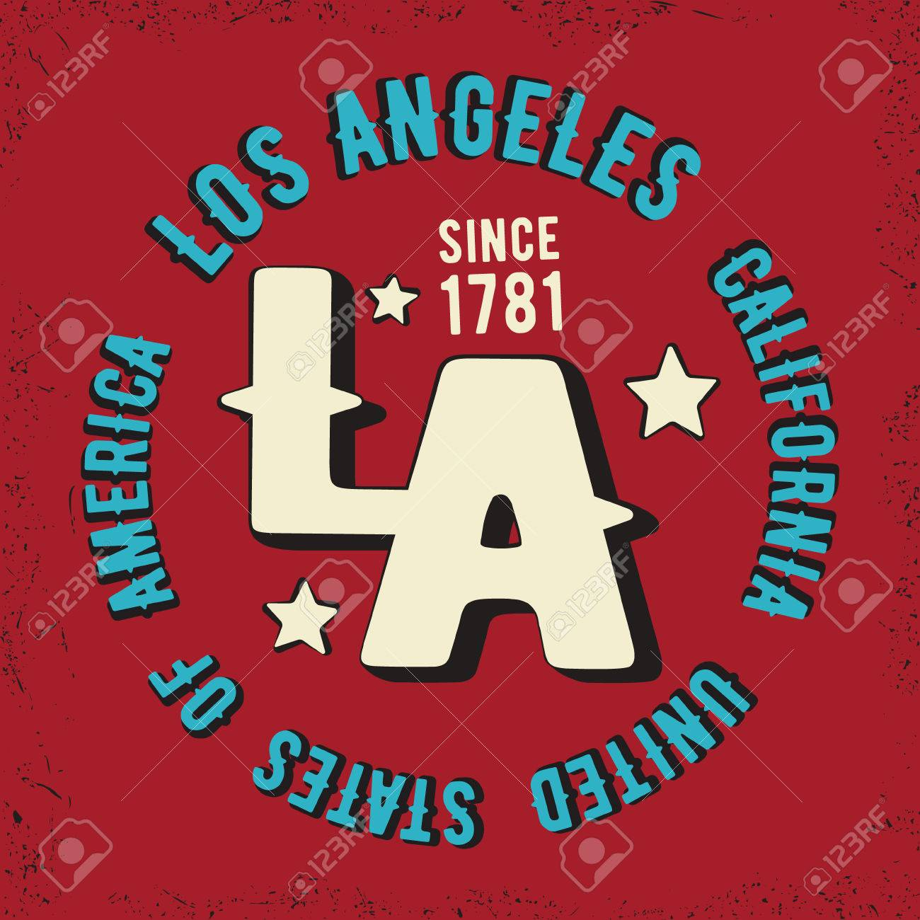 Design t shirts los angeles - T Shirt Print Design Los Angeles Vintage Stamp Printing And Badge Applique