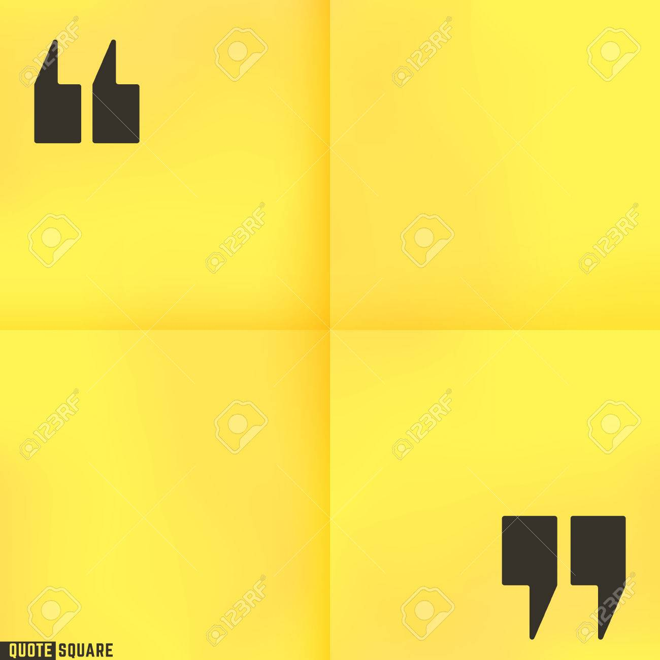 Blank Quote Square. Text Box Template. Yellow Stick Note Design ...