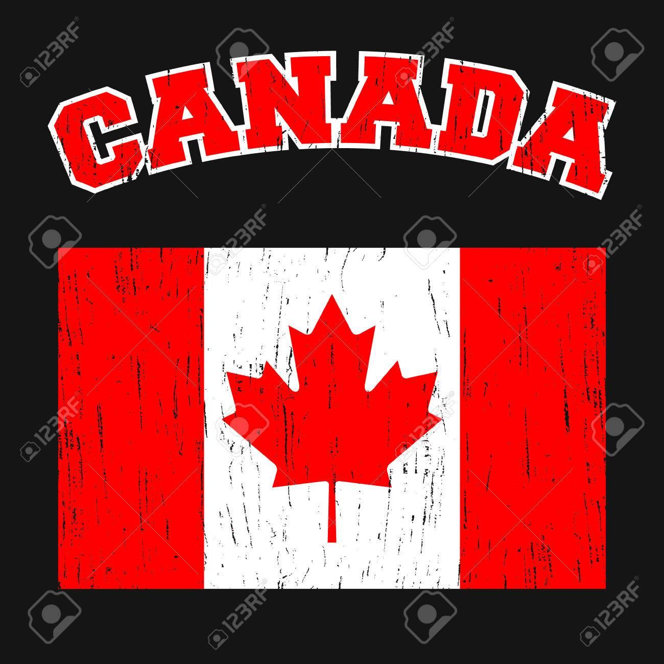 Canada T Shirt Print Design Canadian Flag Vintage Stamp Printing