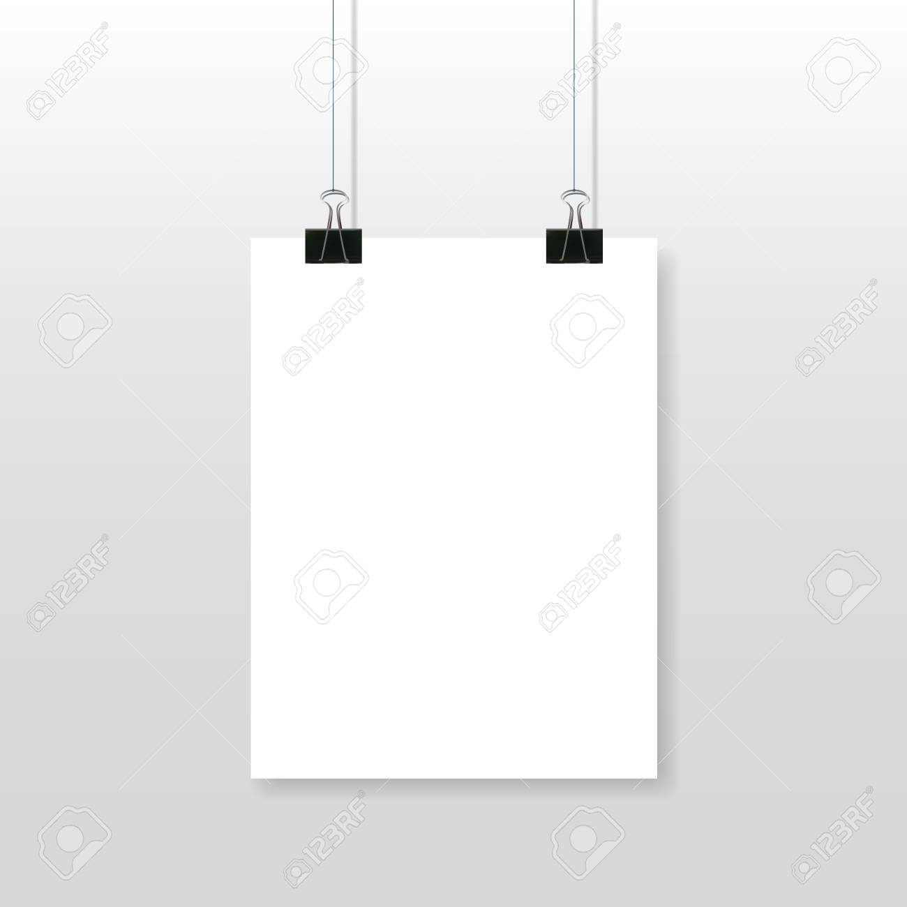 paper poster template blank white page with binder clips hanging