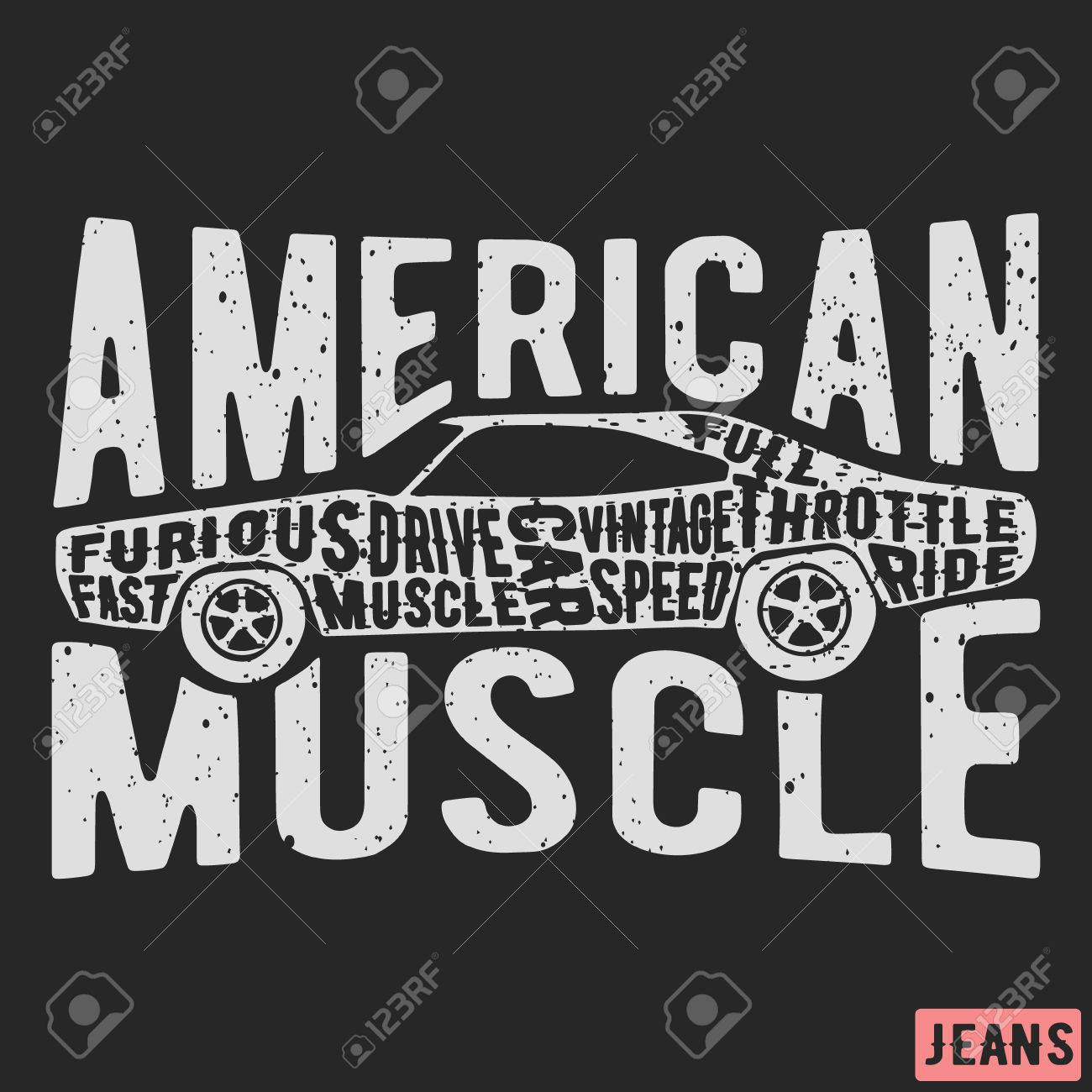 f4c8751b T-shirt print design. American muscle car vintage stamp. Printing and badge  applique
