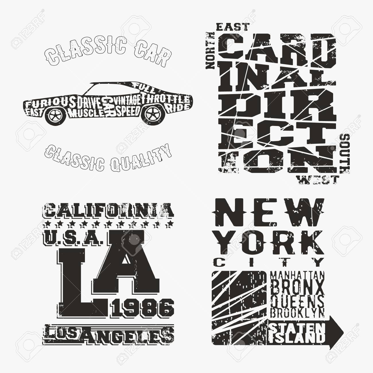 4d83594c T-shirt print design. Set of various vintage stamp. Printing and badge  applique