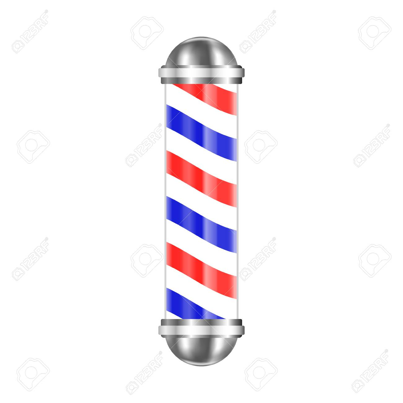 Barbershop pole isolated on white background. Vector illustration. - 80879065