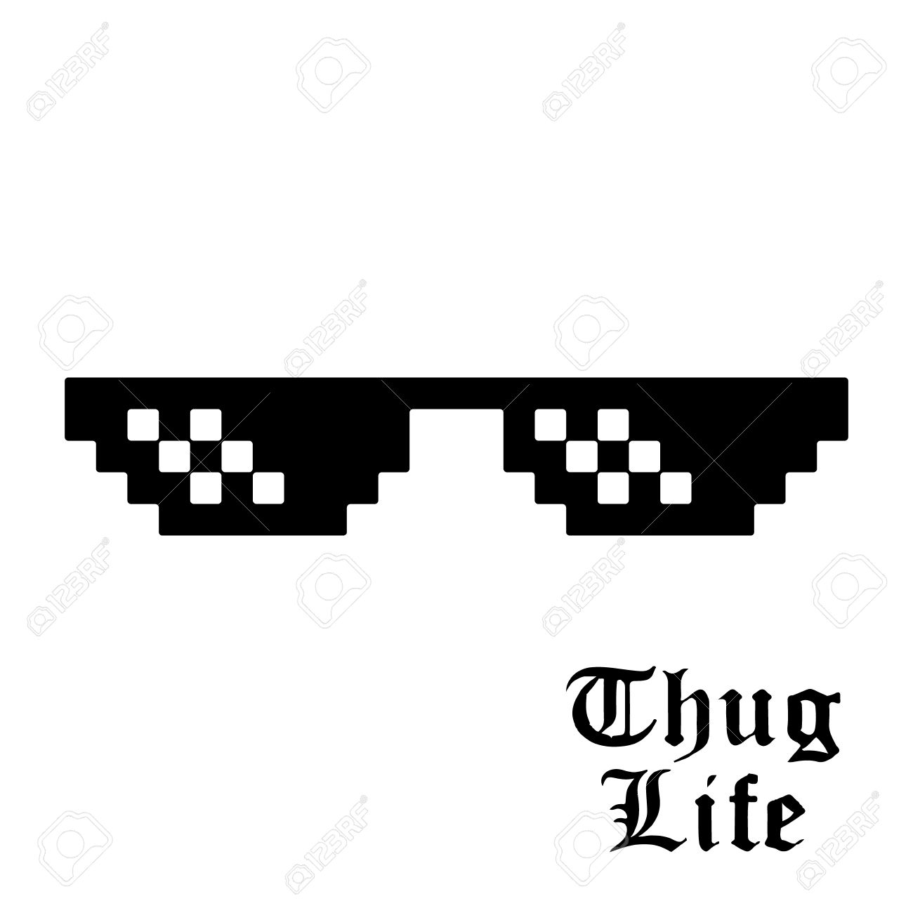 0fc07ffc Pixel glasses isolated on white background. Thug life meme glasses. Vector  illustration. Stock