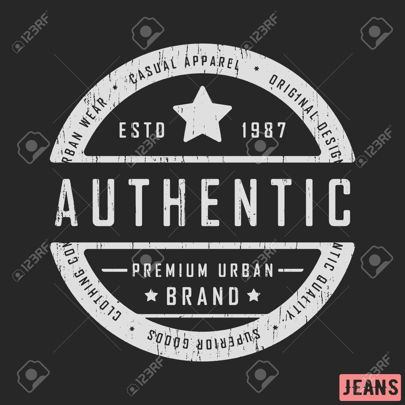 e3cd5edd78042a T-shirt print design. Authentic vintage stamp for denim, t shirt. Printing