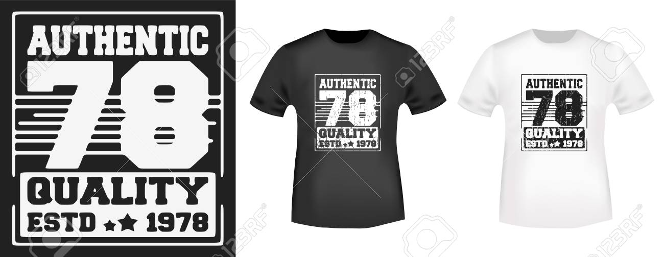 9bf4b53e2 Printing and badge applique label t-shirts, jeans and casual wear. T-shirt  print design. Authentic 78 vintage stamp and t shirt mock-up