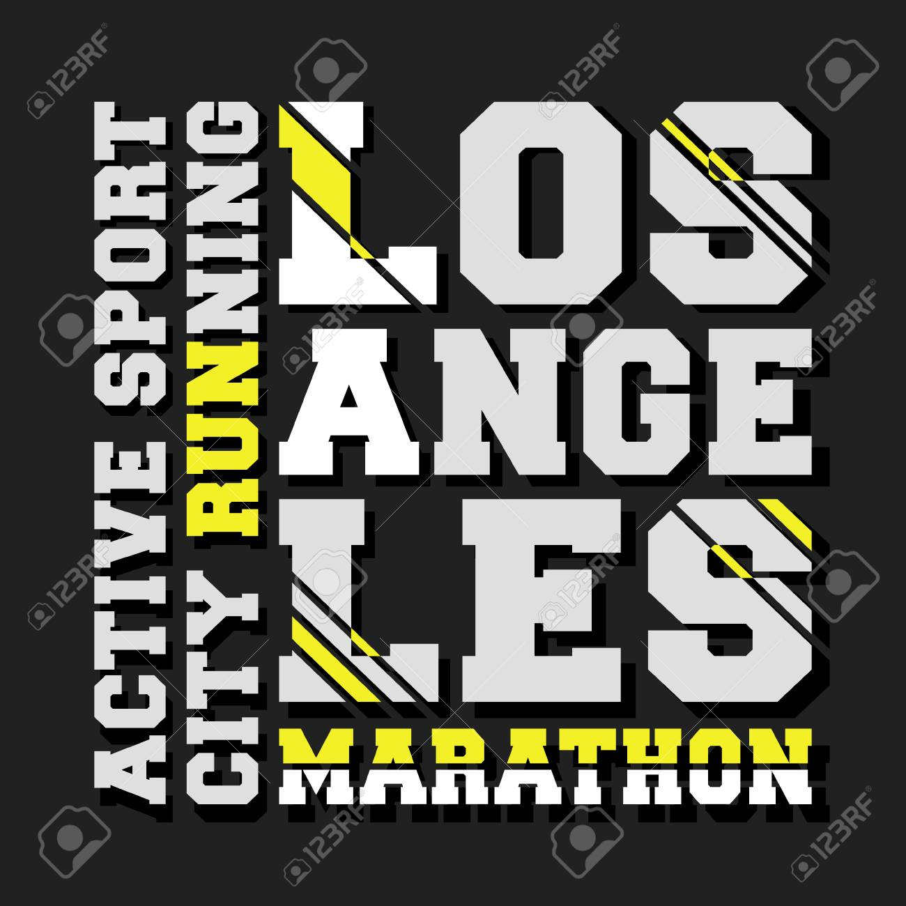 T-shirt print design  Los Angeles marathon vintage stamp  Printing