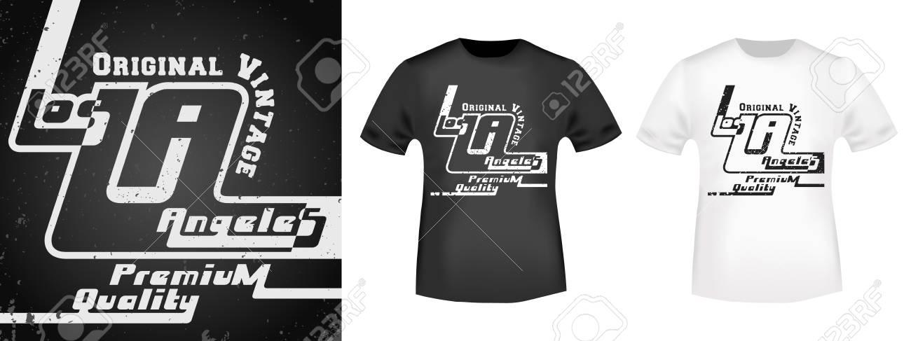 Diseño de camiseta de impresión. Los Ángeles vintage sello y camiseta  maqueta. Camisetas de 5b1fda5d851a1