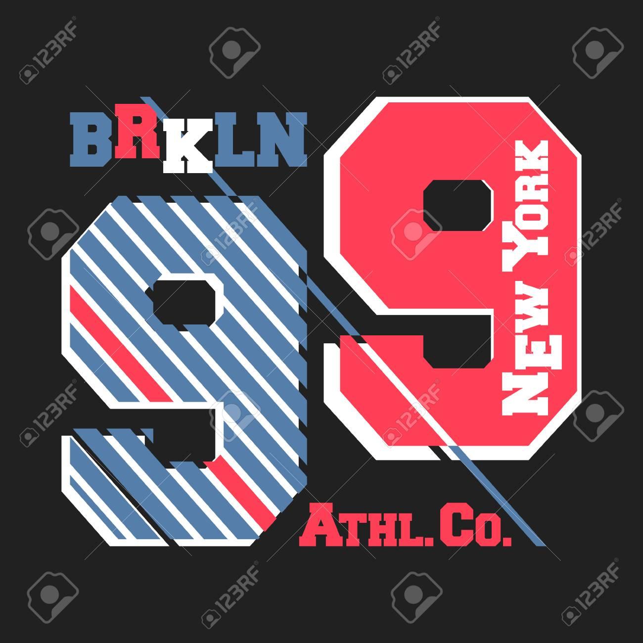 T-shirt print design. New York Brooklyn vintage t shirt stamp. Printing and 0c2ed7db7e8