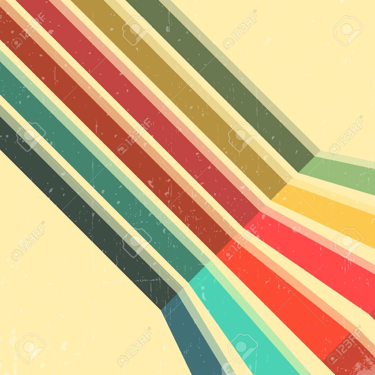 Vintage Color Lines Background. Minimal Design For Magazine ...
