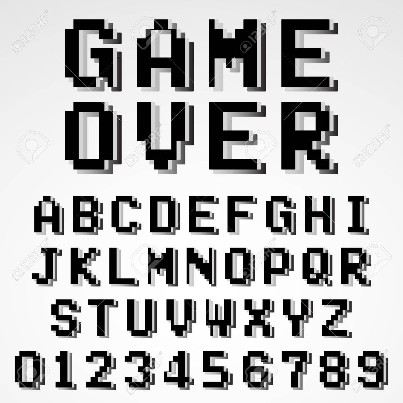 Old Video Game Alphabet Font Template. Set Of Letters And Numbers