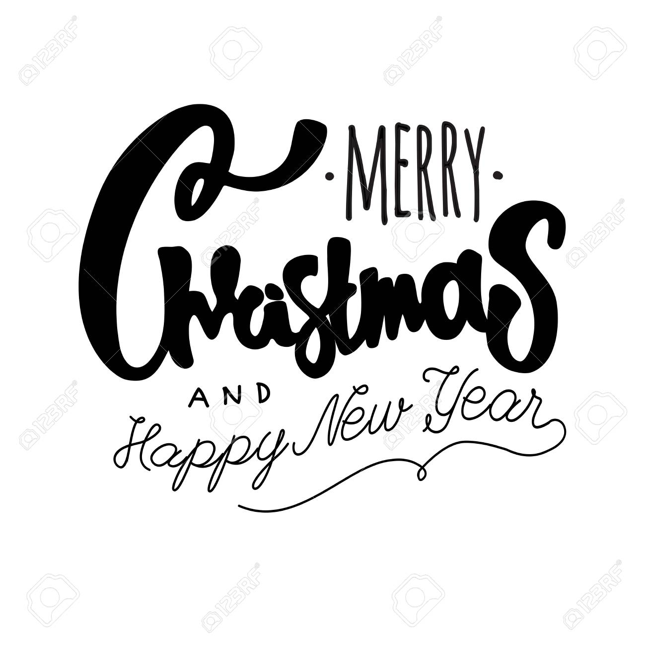 merry christmas and happy new year hand drawn retro design royalty free cliparts vectors and stock illustration image 68990994 merry christmas and happy new year hand drawn retro design