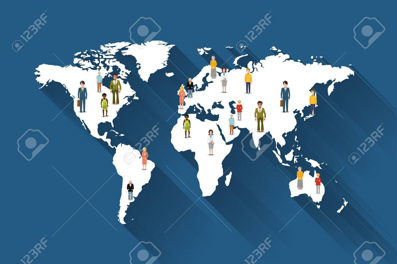 People from different countries on world map flat illustration people from different countries on world map flat illustration stock vector 34872137 gumiabroncs Choice Image