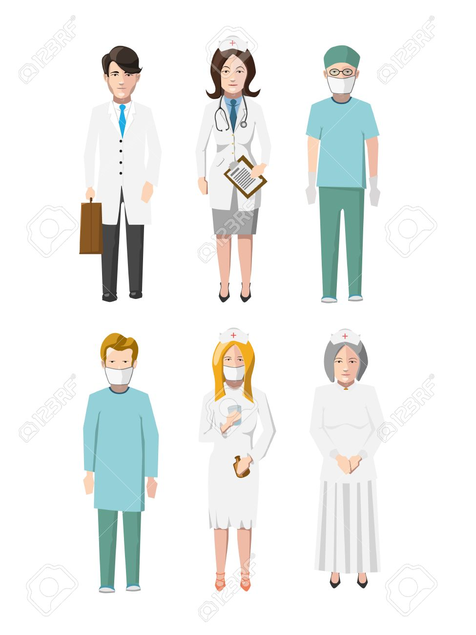 Set of six doctors flat cartoon characters different specializations on white - 38237557