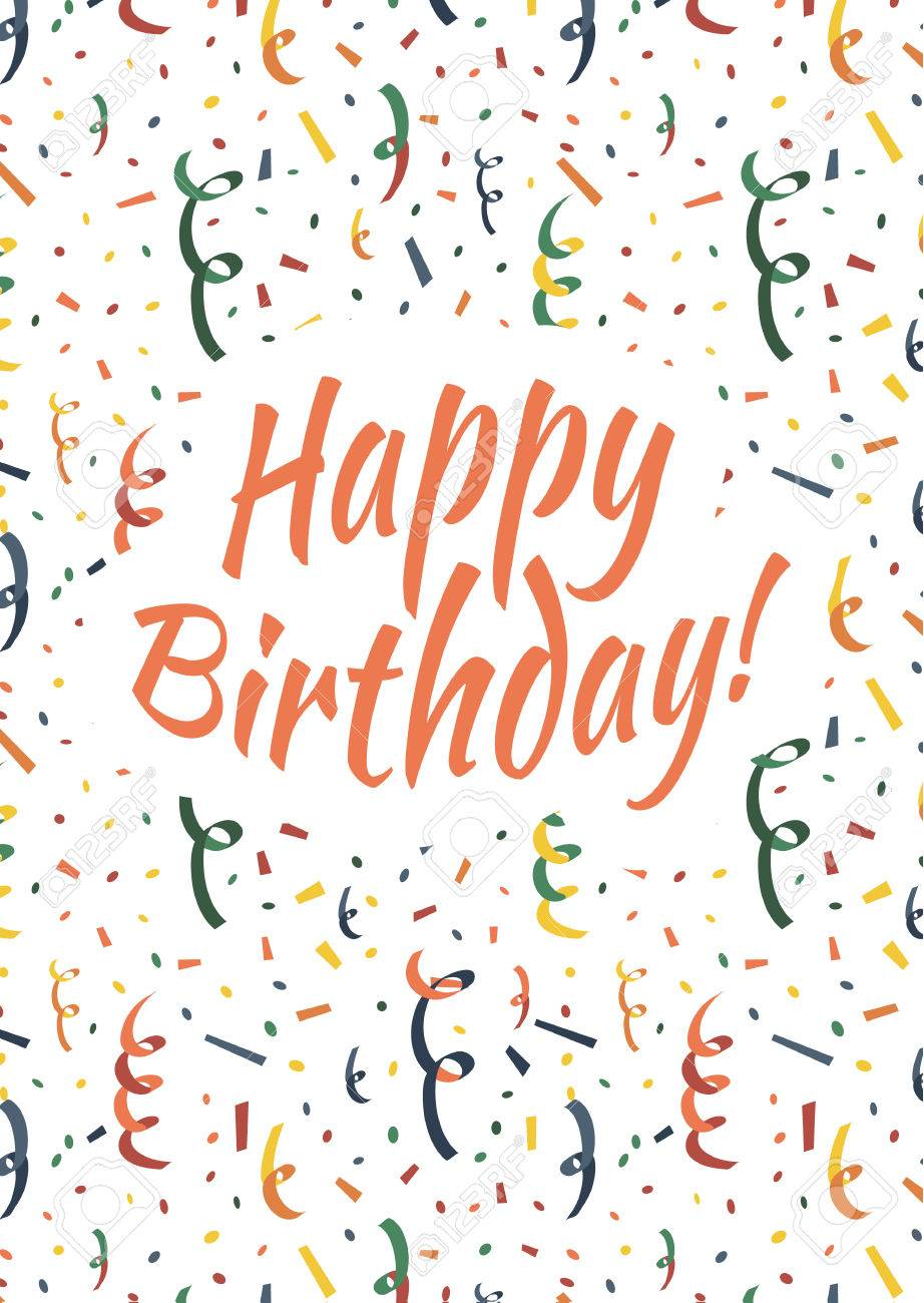 Happy birthday card cover with exploding party popper, colorful..