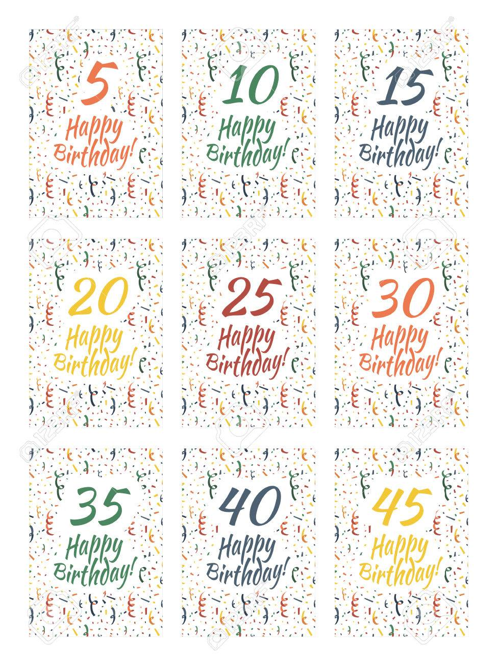 set of happy birthday card covers for anniversary royalty free