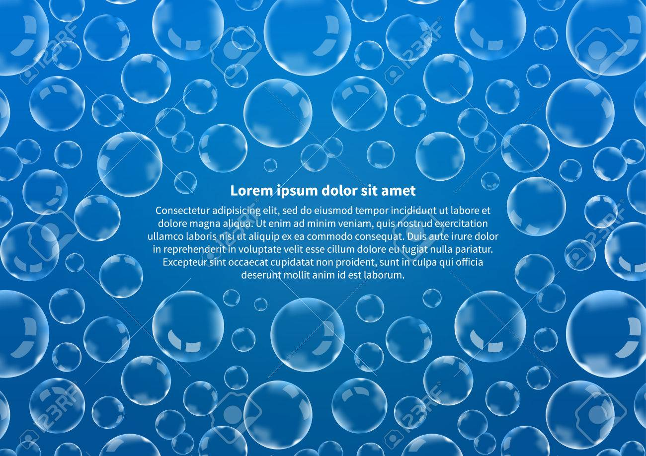 A lot of soap bubbles on blue with text, abstract background A4 size - 52744753