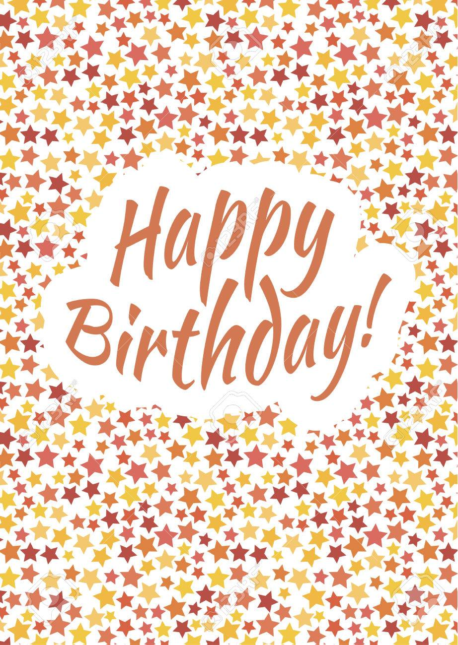 Happy birthday card cover with red, yellow and orange stars on..