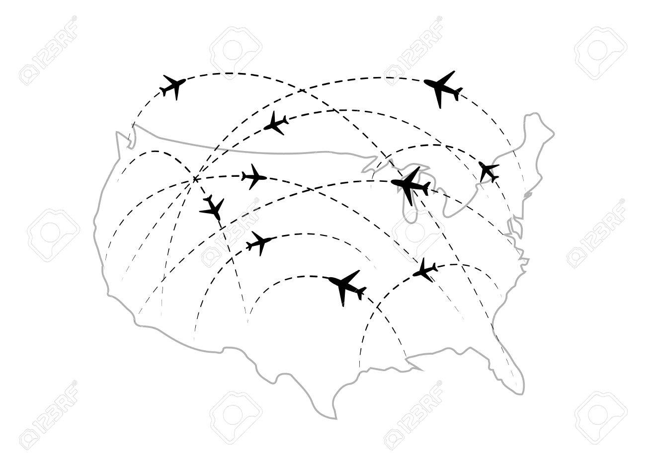 Air Routes With Black Plane Icons On USA Map Isolated On White - Black and white usa map