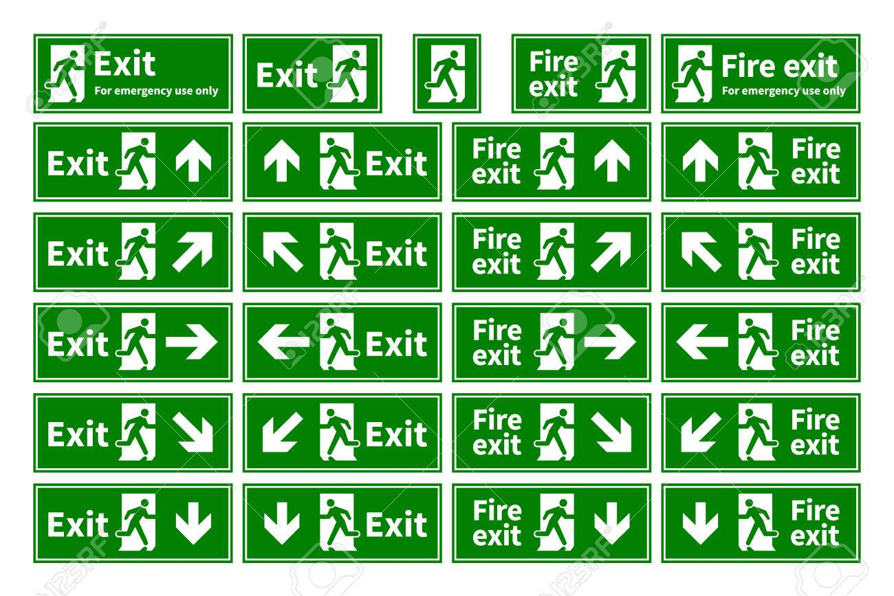 Set of emergency fire exit green signs with different directions isolated on white Stock Vector -  sc 1 st  123RF.com & Set Of Emergency Fire Exit Green Signs With Different Directions ...