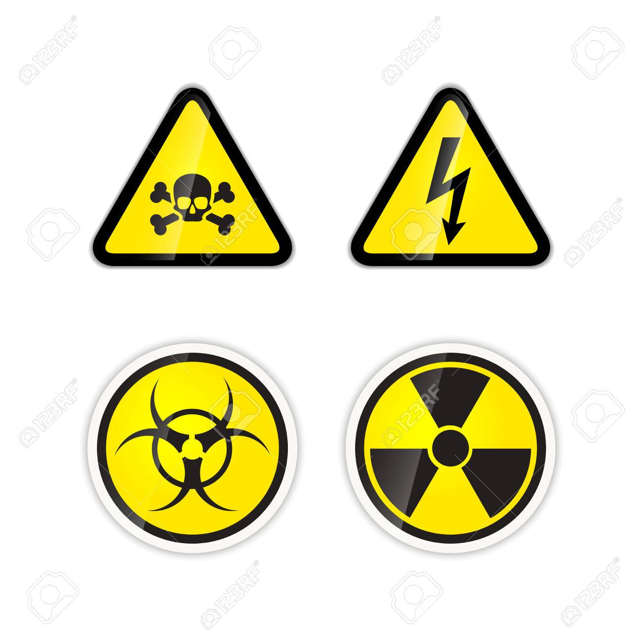Set of four bright warnings signs for high voltage radiation set of four bright warnings signs for high voltage radiation biohazard and poison isolated biocorpaavc Image collections