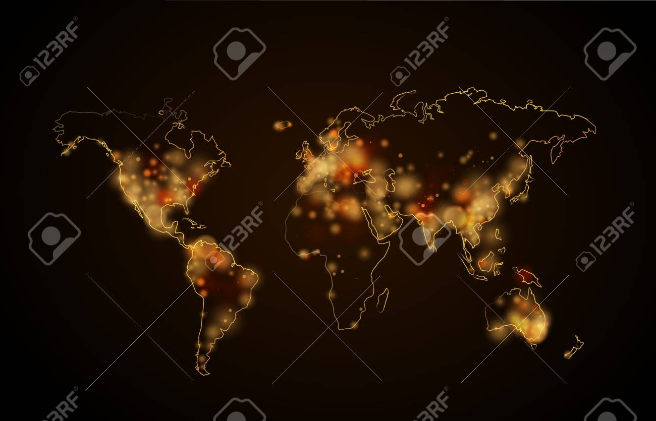 Bright night light in the cities on planet world map view from bright night light in the cities on planet world map view from space stock vector gumiabroncs Gallery