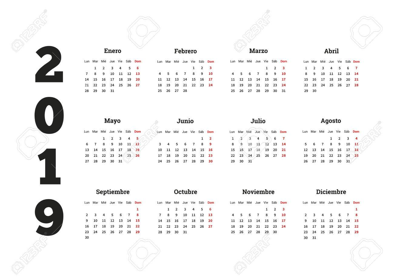 Calendrier 2019 Free.2019 Year Simple Calendar In Spanish Isolated On White
