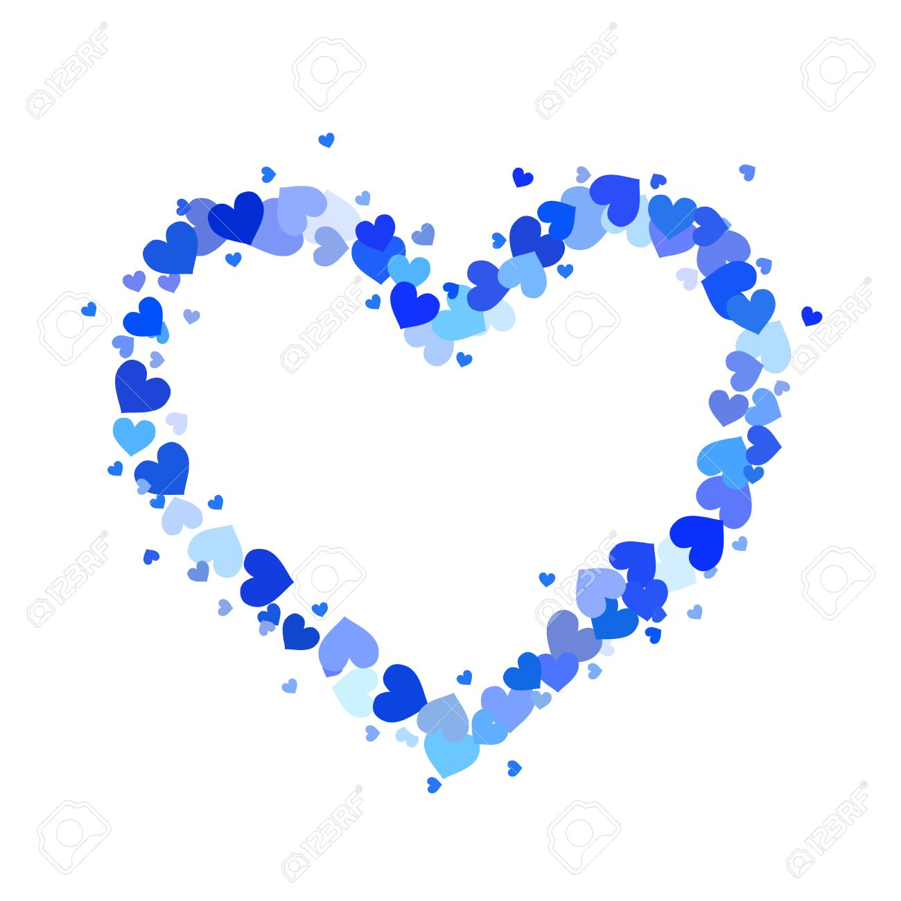 heart contour made up of little cyan and blue hearts isolated