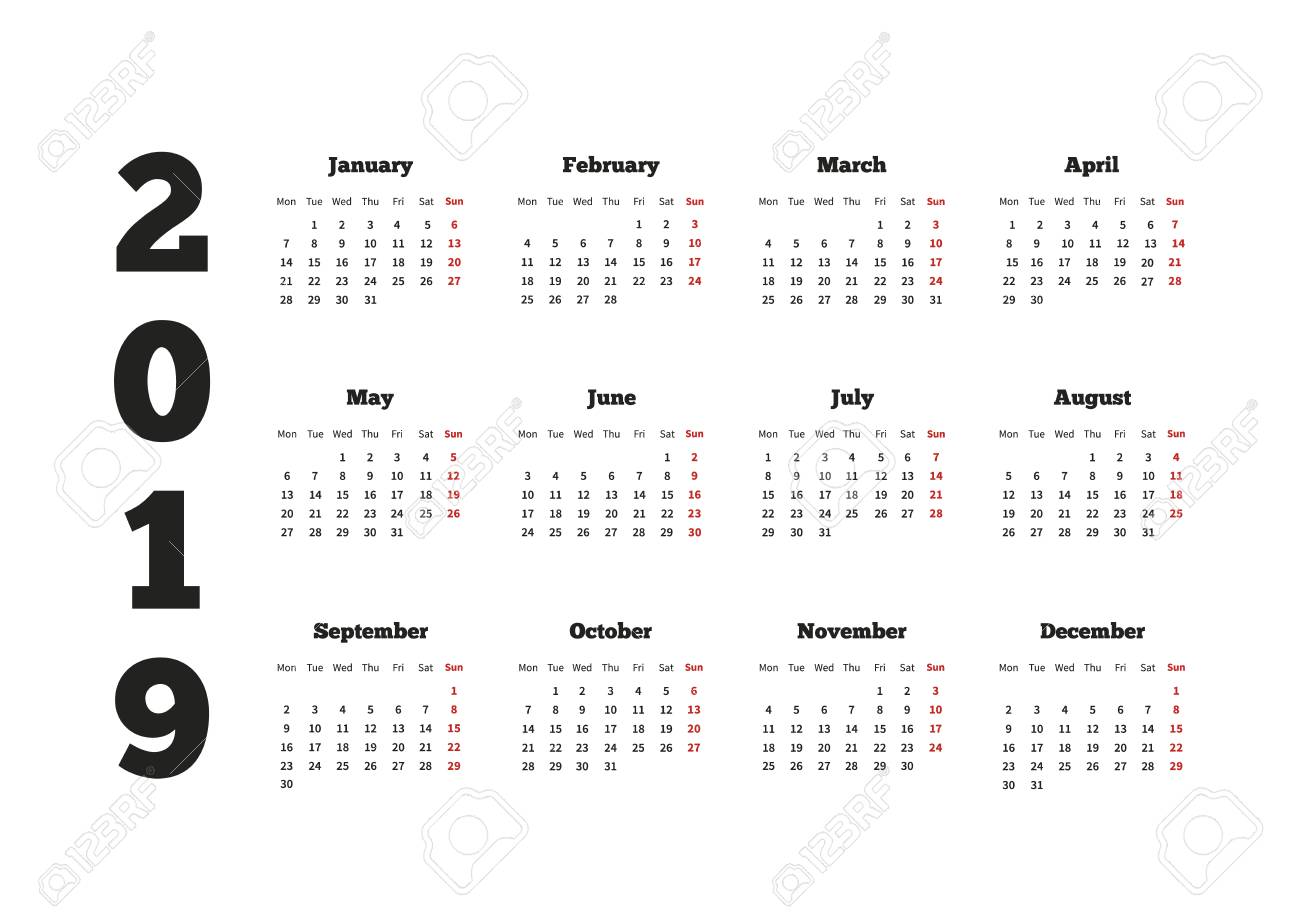 calendar on 2019 year with week starting from monday a4 horizontal sheet stock vector