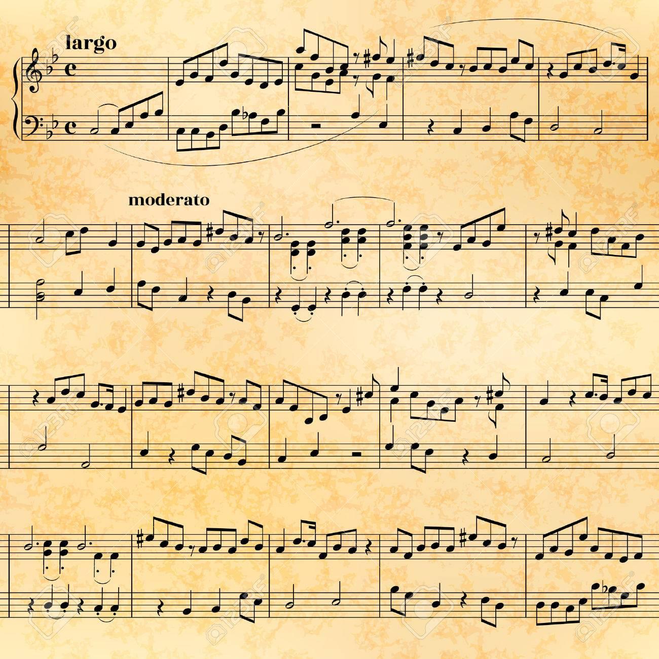 Extracto De Hoja De Música En El Papel Viejo, Modelo Inconsútil ...