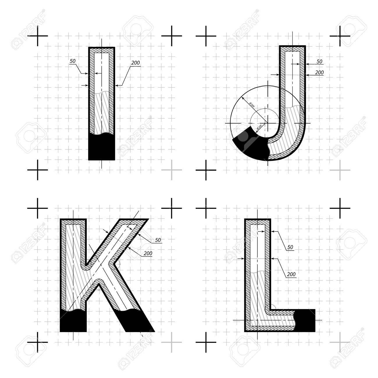 Architekturskizzen Von IJKL Buchstaben Blueprint Stil Schrift Auf Weiss Standard Bild
