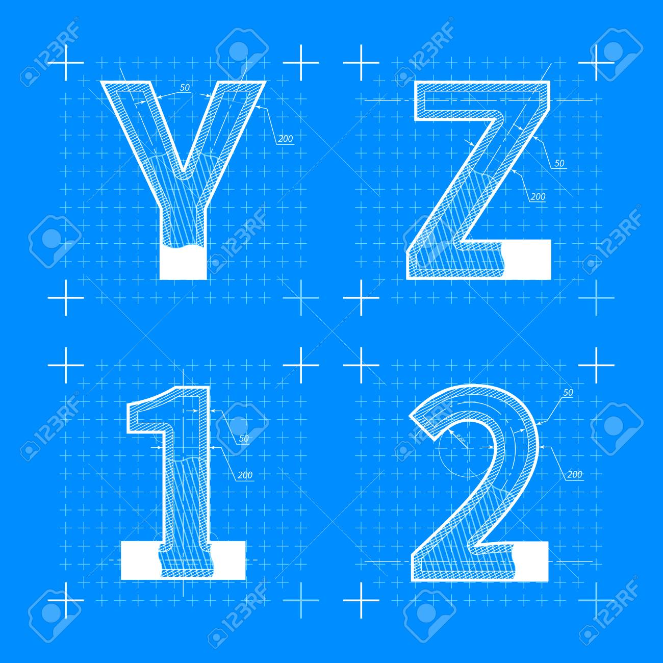 Construction sketches of y z 1 2 letters blueprint style font construction sketches of y z 1 2 letters blueprint style font on blue stock vector malvernweather Images