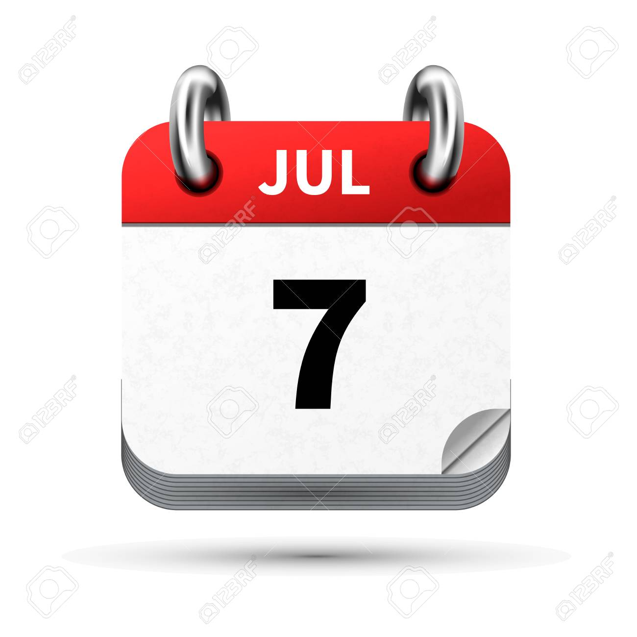 Calendar Date.Bright Realistic Icon Of Calendar With 7 July Date On White