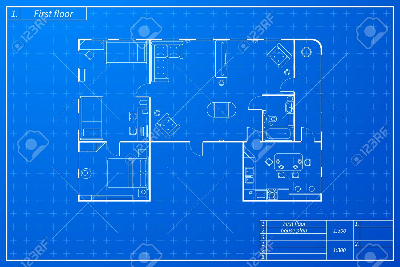 Architecture plan of flat with furniture in blueprint sketch architecture plan of flat with furniture in blueprint sketch style stock vector 99811425 malvernweather Image collections