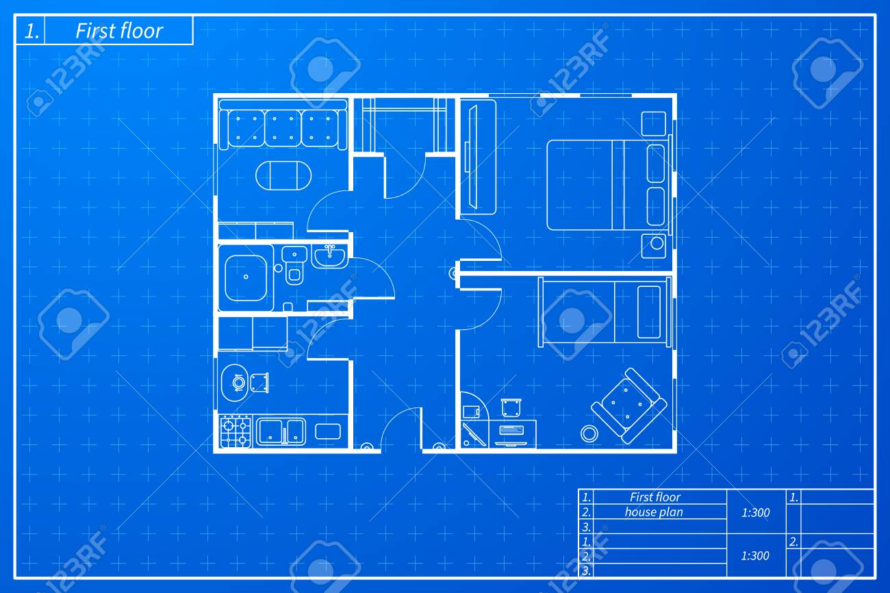 Architecture Plan Of House With Furniture In Blueprint Sketch