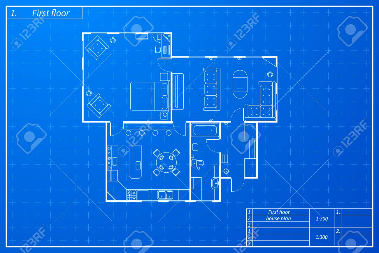 Architecture Sketch Of House With Furniture In Blueprint Plan