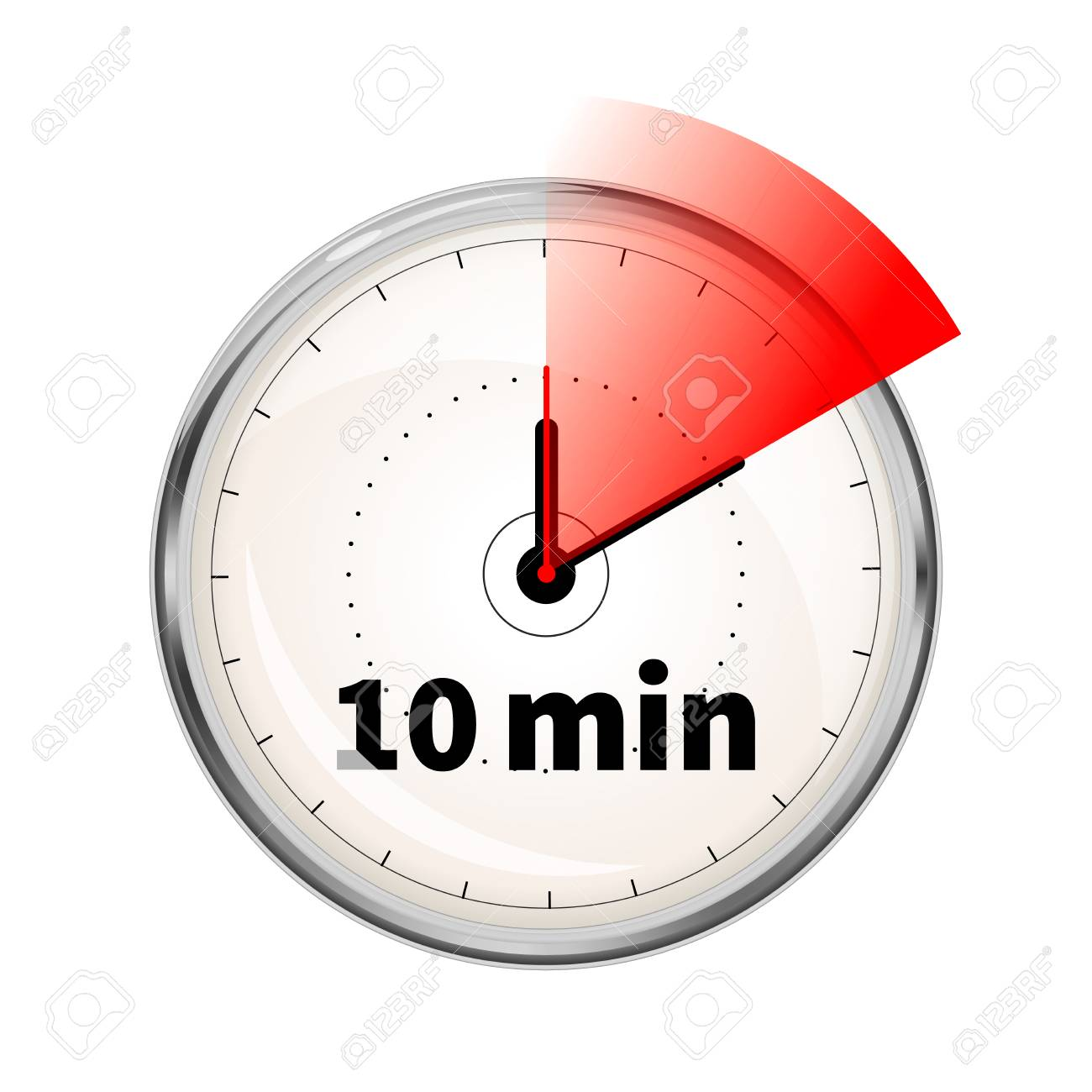 realistic clock face with ten minutes timer isolated on white stock vector 101455996