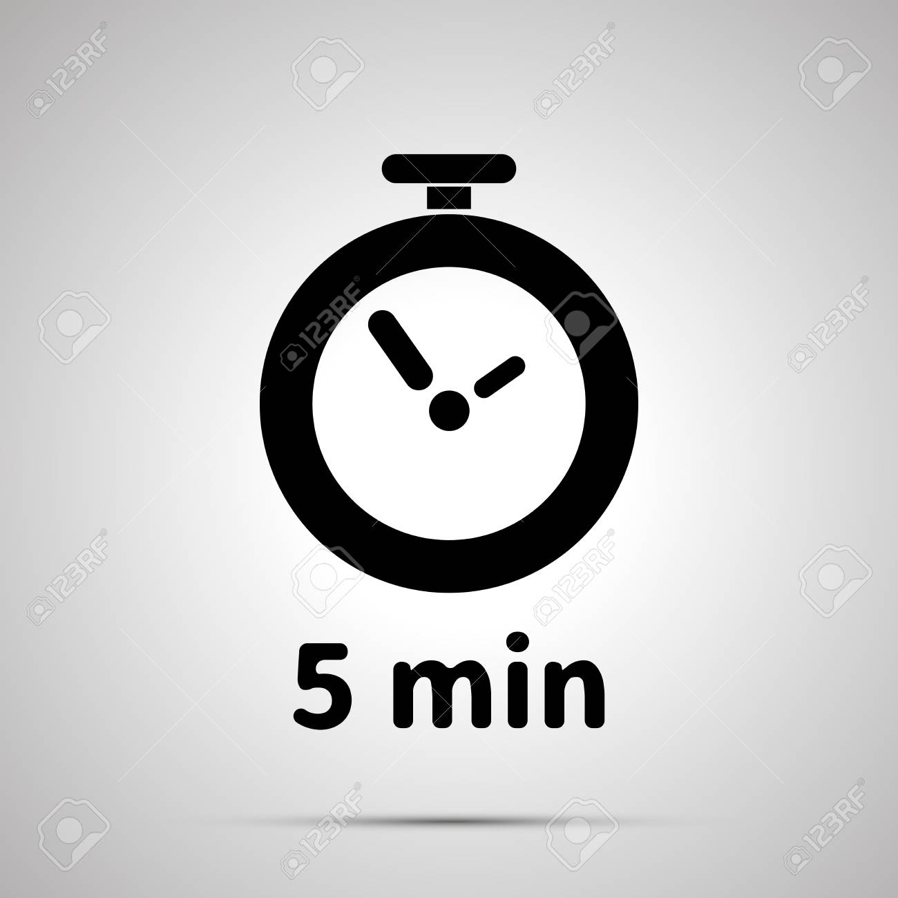 five minutes timer simple black icon with shadow ロイヤリティフリー